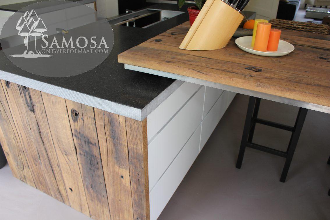 Eiken Keukenblad : Samosa – Ontwerp op Maat » Keuken op maat oud eiken