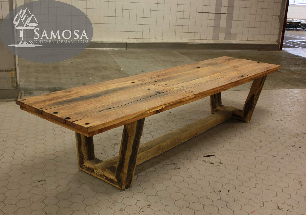 Massief oud eiken tafel houtsmederij