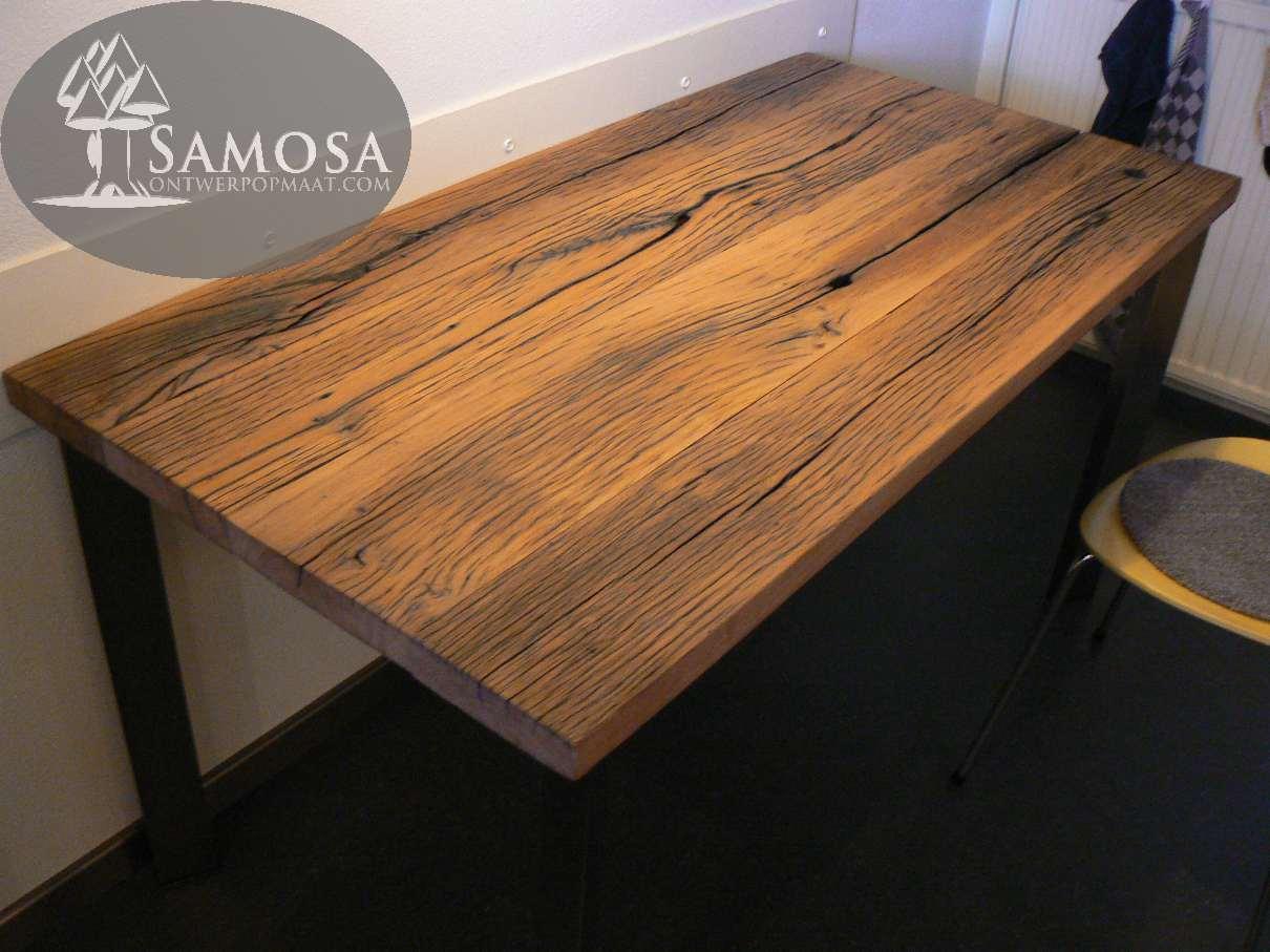Rvs Onderstel Tafel : Samosa u2013 ontwerp op maat oud eiken en rvs samosa ontwerp op maat